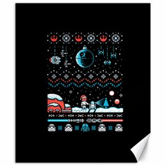 That Snow Moon Star Wars  Ugly Holiday Christmas Black Background Canvas 20  X 24   by Onesevenart