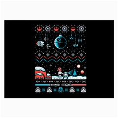 That Snow Moon Star Wars  Ugly Holiday Christmas Black Background Large Glasses Cloth (2 Side) by Onesevenart
