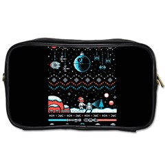 That Snow Moon Star Wars  Ugly Holiday Christmas Black Background Toiletries Bags 2 Side by Onesevenart