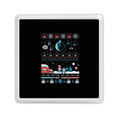 That Snow Moon Star Wars  Ugly Holiday Christmas Black Background Memory Card Reader (square)  by Onesevenart