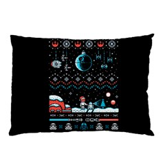 That Snow Moon Star Wars  Ugly Holiday Christmas Black Background Pillow Case (two Sides) by Onesevenart