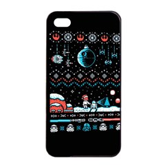 That Snow Moon Star Wars  Ugly Holiday Christmas Black Background Apple Iphone 4/4s Seamless Case (black) by Onesevenart