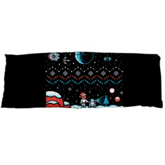 That Snow Moon Star Wars  Ugly Holiday Christmas Black Background Body Pillow Case Dakimakura (two Sides) by Onesevenart