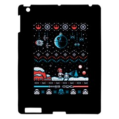 That Snow Moon Star Wars  Ugly Holiday Christmas Black Background Apple Ipad 3/4 Hardshell Case by Onesevenart