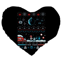 That Snow Moon Star Wars  Ugly Holiday Christmas Black Background Large 19  Premium Heart Shape Cushions by Onesevenart