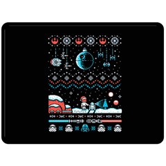 That Snow Moon Star Wars  Ugly Holiday Christmas Black Background Double Sided Fleece Blanket (large)  by Onesevenart