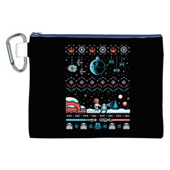 That Snow Moon Star Wars  Ugly Holiday Christmas Black Background Canvas Cosmetic Bag (xxl) by Onesevenart