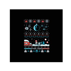 That Snow Moon Star Wars  Ugly Holiday Christmas Black Background Small Satin Scarf (square) by Onesevenart