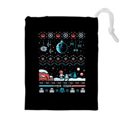 That Snow Moon Star Wars  Ugly Holiday Christmas Black Background Drawstring Pouches (extra Large) by Onesevenart