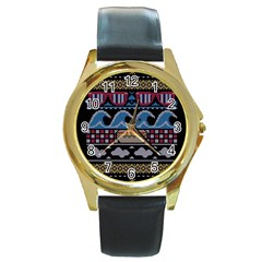 Ugly Summer Ugly Holiday Christmas Black Background Round Gold Metal Watch by Onesevenart