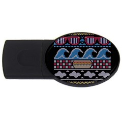 Ugly Summer Ugly Holiday Christmas Black Background Usb Flash Drive Oval (2 Gb) by Onesevenart