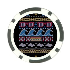 Ugly Summer Ugly Holiday Christmas Black Background Poker Chip Card Guard by Onesevenart