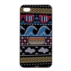 Ugly Summer Ugly Holiday Christmas Black Background Apple Iphone 4/4s Seamless Case (black) by Onesevenart