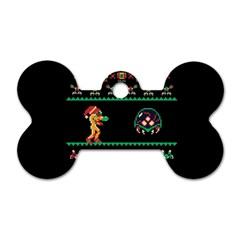 We Wish You A Metroid Christmas Ugly Holiday Christmas Black Background Dog Tag Bone (one Side) by Onesevenart
