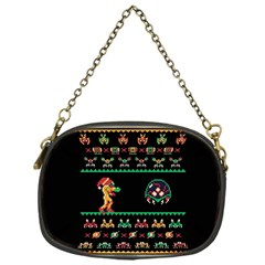 We Wish You A Metroid Christmas Ugly Holiday Christmas Black Background Chain Purses (one Side)  by Onesevenart