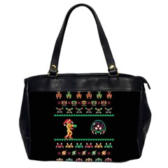 We Wish You A Metroid Christmas Ugly Holiday Christmas Black Background Office Handbags (2 Sides)  by Onesevenart