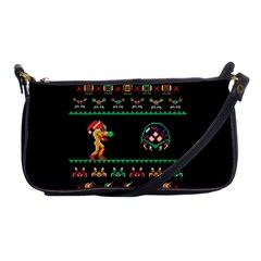 We Wish You A Metroid Christmas Ugly Holiday Christmas Black Background Shoulder Clutch Bags by Onesevenart