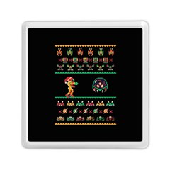We Wish You A Metroid Christmas Ugly Holiday Christmas Black Background Memory Card Reader (square)  by Onesevenart
