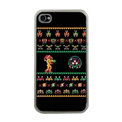 We Wish You A Metroid Christmas Ugly Holiday Christmas Black Background Apple Iphone 4 Case (clear) by Onesevenart
