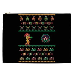 We Wish You A Metroid Christmas Ugly Holiday Christmas Black Background Cosmetic Bag (xxl)  by Onesevenart