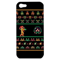 We Wish You A Metroid Christmas Ugly Holiday Christmas Black Background Apple Iphone 5 Hardshell Case by Onesevenart