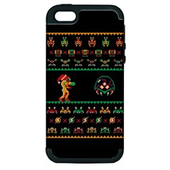 We Wish You A Metroid Christmas Ugly Holiday Christmas Black Background Apple Iphone 5 Hardshell Case (pc+silicone) by Onesevenart