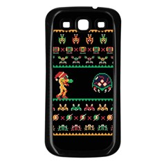 We Wish You A Metroid Christmas Ugly Holiday Christmas Black Background Samsung Galaxy S3 Back Case (black) by Onesevenart