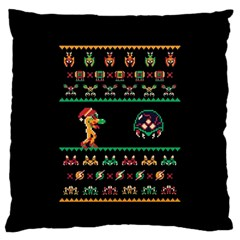 We Wish You A Metroid Christmas Ugly Holiday Christmas Black Background Large Flano Cushion Case (two Sides) by Onesevenart