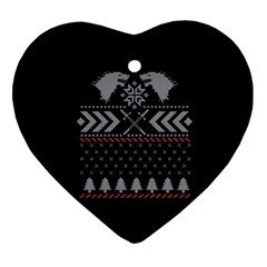 Winter Is Coming Game Of Thrones Ugly Christmas Black Background Ornament (heart) by Onesevenart