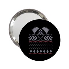 Winter Is Coming Game Of Thrones Ugly Christmas Black Background 2 25  Handbag Mirrors by Onesevenart