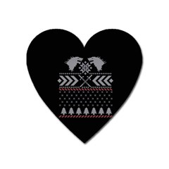 Winter Is Coming Game Of Thrones Ugly Christmas Black Background Heart Magnet by Onesevenart