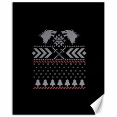 Winter Is Coming Game Of Thrones Ugly Christmas Black Background Canvas 16  X 20   by Onesevenart