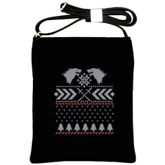 Winter Is Coming Game Of Thrones Ugly Christmas Black Background Shoulder Sling Bags by Onesevenart