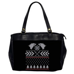 Winter Is Coming Game Of Thrones Ugly Christmas Black Background Office Handbags (2 Sides)  by Onesevenart