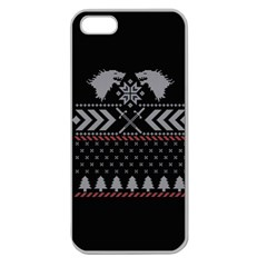Winter Is Coming Game Of Thrones Ugly Christmas Black Background Apple Seamless Iphone 5 Case (clear) by Onesevenart