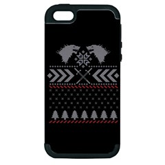 Winter Is Coming Game Of Thrones Ugly Christmas Black Background Apple Iphone 5 Hardshell Case (pc+silicone) by Onesevenart