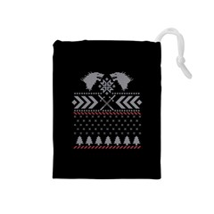 Winter Is Coming Game Of Thrones Ugly Christmas Black Background Drawstring Pouches (medium)  by Onesevenart