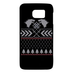 Winter Is Coming Game Of Thrones Ugly Christmas Black Background Galaxy S6 by Onesevenart