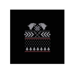 Winter Is Coming Game Of Thrones Ugly Christmas Black Background Small Satin Scarf (square) by Onesevenart