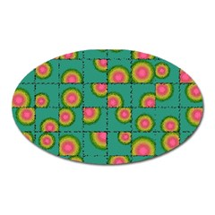 Tiled Circular Gradients Oval Magnet by linceazul