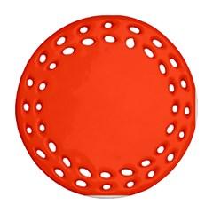 Neon Color   Light Brilliant Scarlet Ornament (round Filigree) by tarastyle