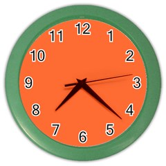 Neon Color   Light Brilliant Vermilion Color Wall Clocks by tarastyle