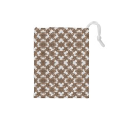 Stylized Leaves Floral Collage Drawstring Pouches (small)  by dflcprints