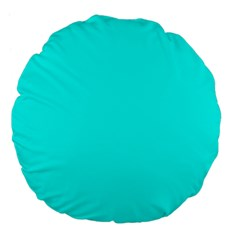 Neon Color   Luminous Vivid Cyan Large 18  Premium Flano Round Cushions by tarastyle