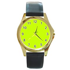 Neon Color   Luminous Vivid Lime Green Round Gold Metal Watch by tarastyle