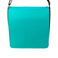 Neon Color   Vivid Cyan Flap Messenger Bag (l)  by tarastyle