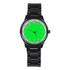 Neon Color   Vivid Malachite Green Stainless Steel Round Watch by tarastyle