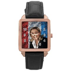 Marine Le Pen Rose Gold Leather Watch  by Valentinaart