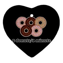 Five Donuts In One Minute  Ornament (heart) by Valentinaart
