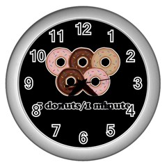 Five Donuts In One Minute  Wall Clocks (silver)  by Valentinaart